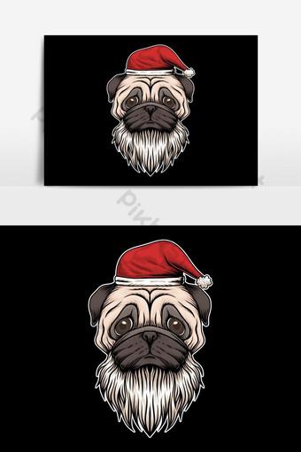 pug perro sombrero y barba santa navidad vector elemento gráfico Elementos graficos Modelo EPS