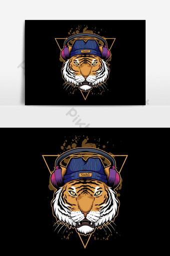 ilustración de auriculares de tigre Elementos graficos Modelo EPS