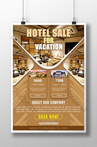 غرفة فندق أنيقة حديثة بيع لقضاء عطلة والسفر قالب ملصق للشركة قالب AI