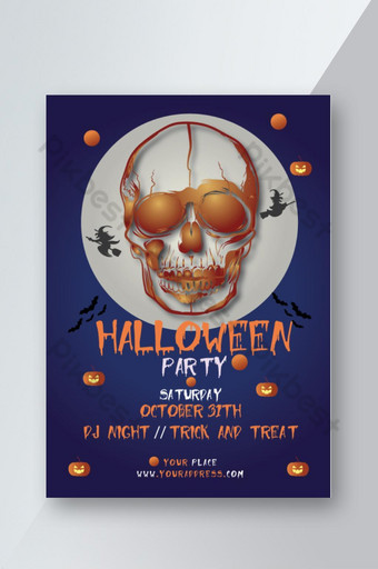 Flyer de fête d'Halloween Modèle AI
