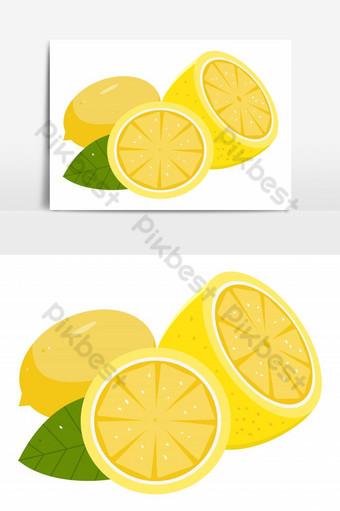 elemento gráfico de vector de limones en rodajas recién cortados Elementos graficos Modelo PSD
