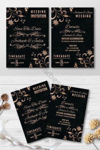 Carte d'invitation de mariage noir et or Modèle PSD