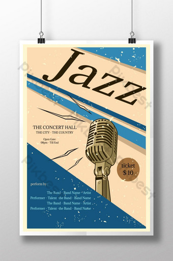 plantilla de cartel de estilo retro de música jazz Modelo AI