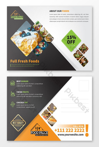 Carte postale de menu de nourriture de restaurant moderne Modèle AI
