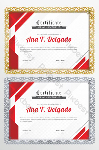 Impresionante plantilla de certificado rojo abstracto vector Modelo AI