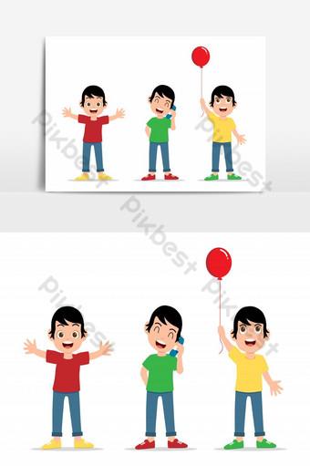 أطفال سعداء جمع الكرتون التوضيح النواقل مجموعة الأطفال في موقف مختلف صور PNG قالب EPS