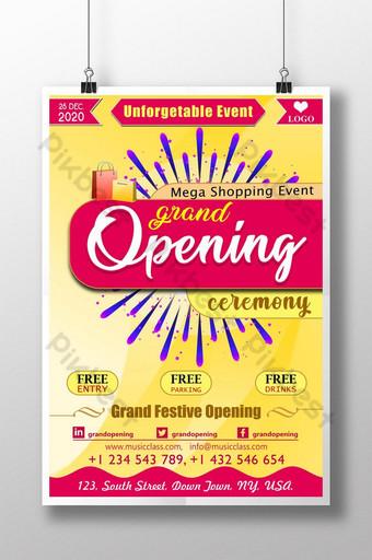 cartel de psd de mega evento de compras de ceremonia de inauguración Modelo PSD