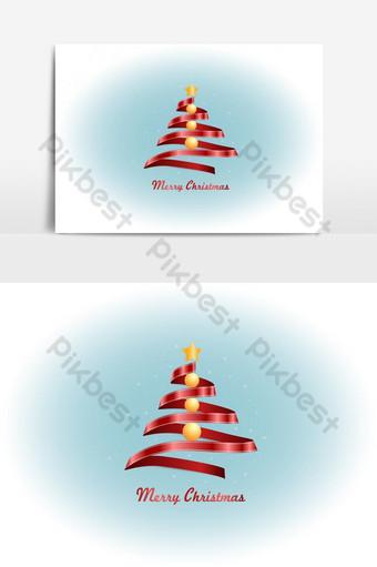 Sapin de Noël de ruban rouge Nouvel an et vecteur de carte de Noël Éléments graphiques Modèle EPS