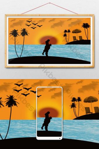 pareja romántica noche silueta ilustración Ilustración Modelo PSD