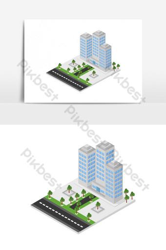 rascacielos isométrico Elementos graficos Modelo EPS