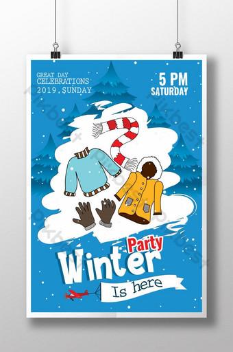 Modèle d'Affiche de la fête de la neige en hiver Modèle PSD