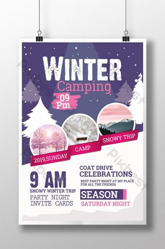 Modèles d'affiche de camping de fête en plein air d'hiver Modèle PSD