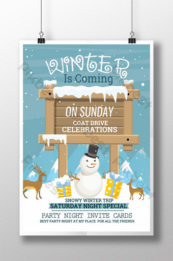 Modèle d'impression d'affiche de fête d'hiver avec illustration de planche de bois Modèle PSD