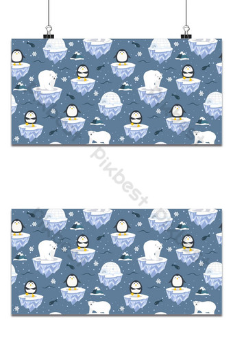 Christmas seamless pattern with penguin on ice floe background, Winter pattern with polar Backgrounds Template EPS