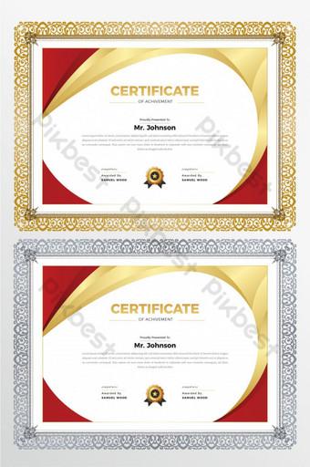 diseño de plantillas de impresión de certificado horizontal de color dorado Modelo AI