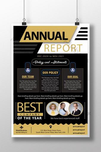 Modèle de conception d'affiche PSD d'entreprise de rapport annuel d'or noir Modèle PSD