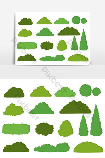 Green bushes vector icon set isolated on white background PNG Images Template AI