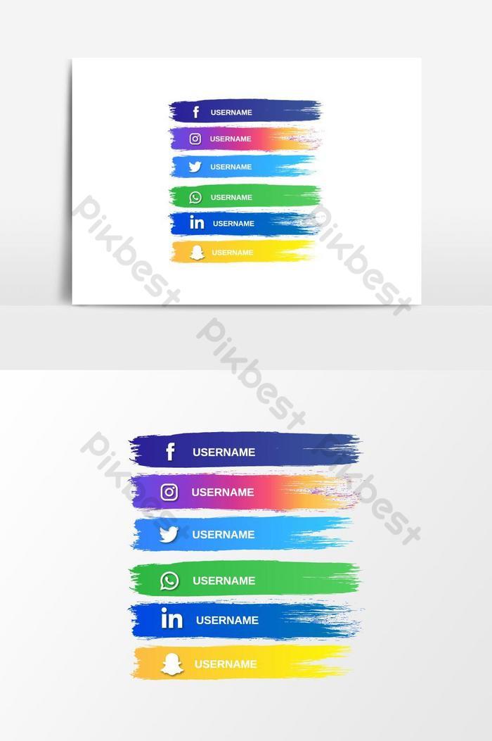 абстрактная кисть полосы кнопка социальных сетей