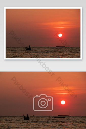 Sunset in the evening and the sea. Photo Template JPG