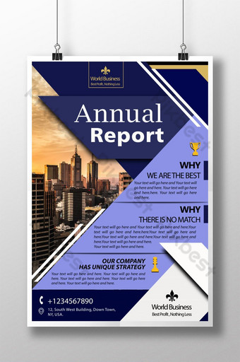 Modèle PSD d'affiche d'entreprise de rapport annuel de Blue Strips Modèle PSD