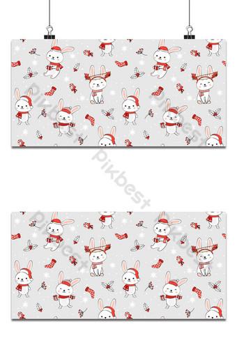 Navidad de patrones sin fisuras con fondo de conejito Patrón de invierno con conejo blanco Fondos Modelo EPS