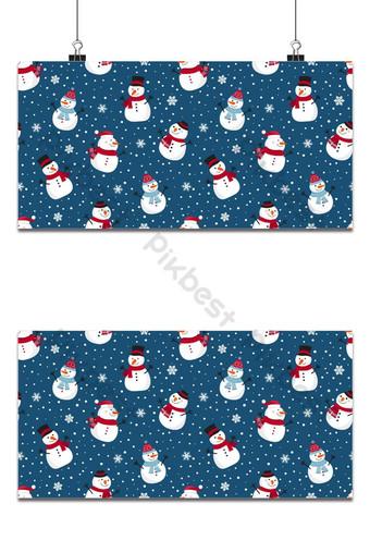 Navidad de patrones sin fisuras con muñeco de nieve sobre fondo azul patrón de invierno con copos de nieve Fondos Modelo EPS