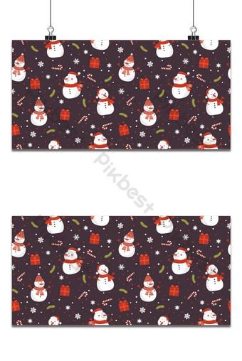 Navidad de patrones sin fisuras con muñeco de nieve sobre fondo marrón patrón de invierno Fondos Modelo EPS