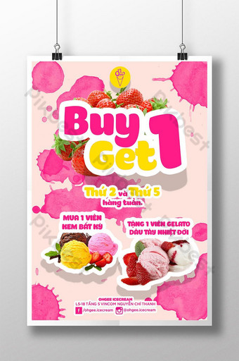 poster cream ice buy 1 get 1 pink Template PSD