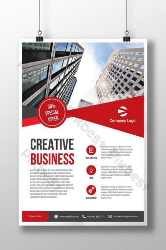 plantilla de diseño de folleto comercial triángulo rojo Modelo PSD
