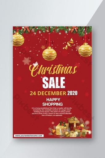 Affiche de flyer de vente de Noël Modèle PSD