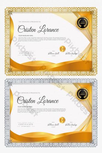 Szablon certyfikatu złoty kolor wektor Szablon AI