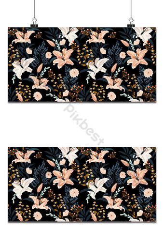 百合花卉無縫模式在黑色的背景,花白色的百合花卉矢量 背景 模板 EPS