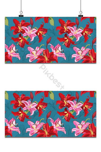 Patrón sin fisuras de flor de lirio sobre fondo verde vector floral de lirio rosa y rojo Fondos Modelo EPS