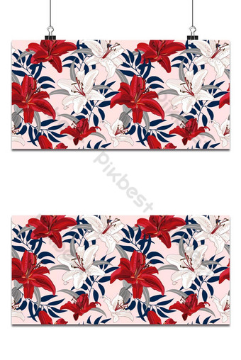 Flor de lirio de patrones sin fisuras sobre fondo rosa vector floral de lirio rojo y blanco Fondos Modelo EPS