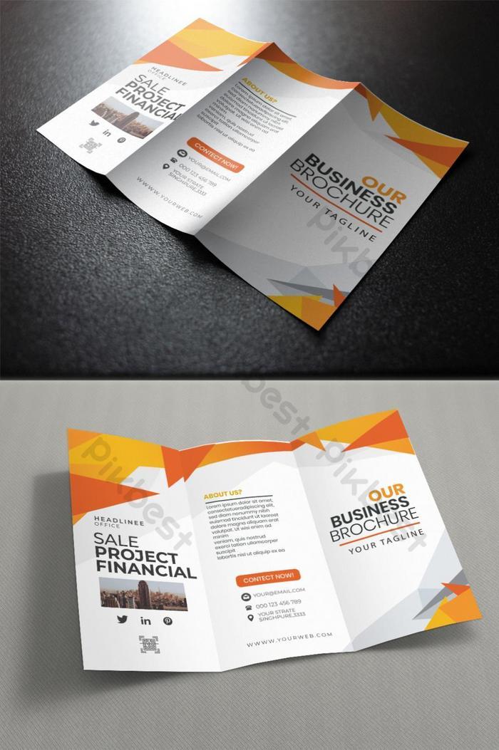folheto de negócios corporativos com três dobras