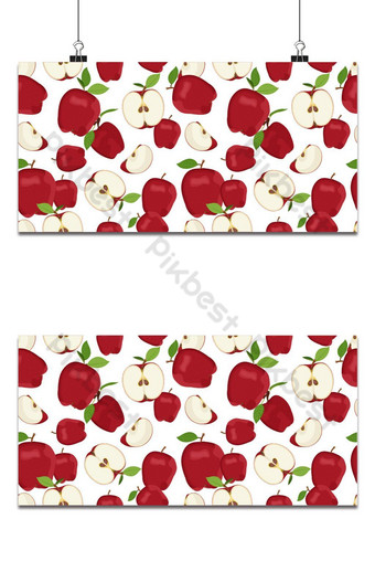 Manzana de patrones sin fisuras y rebanada cayendo sobre fondo blanco vector de frutas de manzanas rojas Fondos Modelo EPS