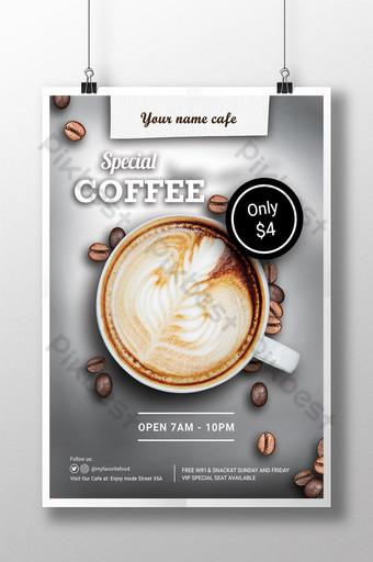 Modèle de remise d'affiche de café Americano cappuccino aquarelle moderne Modèle PSD