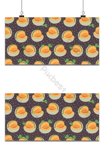 Melon cut seamless pattern on brown background with seed, Fresh cantaloupe melon pattern Backgrounds Template EPS
