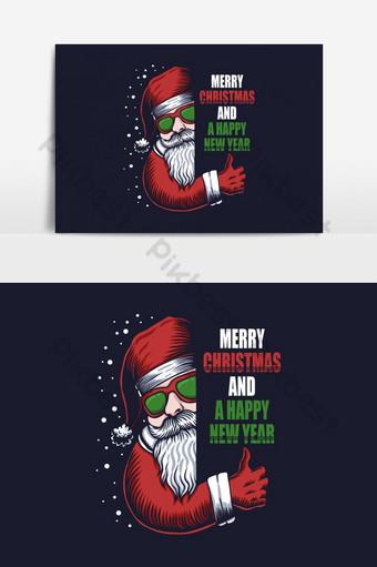 Santa lunettes joyeux Noël et un élément graphique vectoriel de bonne année Éléments graphiques Modèle EPS