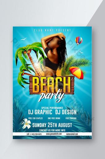 Flyer de fête à la plage Modèle PSD