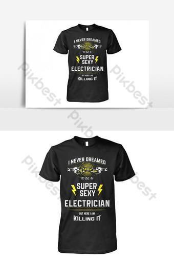diseño de plantilla de vector de camiseta de electricista super sexy Elementos graficos Modelo EPS