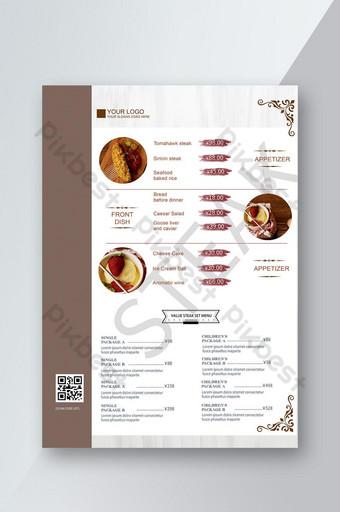 อาหารสีขาวเมนูอาหารรสเลิศประชาสัมพันธ์รายการราคาใบปลิวผลิตภัณฑ์ แบบ PSD
