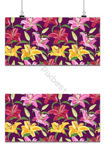 flor de lirio de patrones sin fisuras sobre fondo púrpura vector floral de lirio amarillo y rosa Fondos Modelo EPS