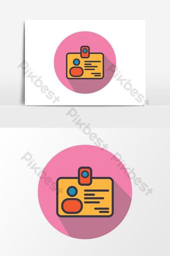 Icône de signe de carte d'identité Éléments graphiques Modèle PSD