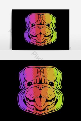 Ilustración de vector colorido cabeza de perro pug Elementos graficos Modelo EPS