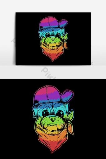Sombrero de perro pug y bandana colorida ilustración vectorial Elementos graficos Modelo EPS