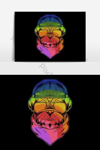 Ilustración de vector colorido de auriculares de perro pug Elementos graficos Modelo EPS