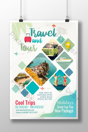 Creative Sea Green Travel Poster Template PSD