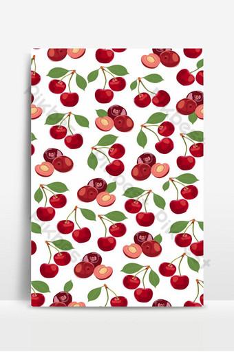 patrones sin fisuras cereza frutas alimentos orgánicos frescos frutos rojos patrón de baya en blanco Fondos Modelo EPS