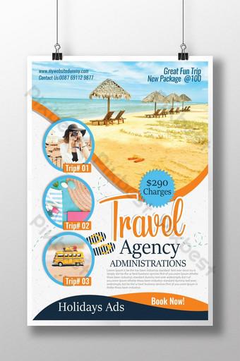 Modèle d'Affiche de publicité d'agence de voyage Modèle PSD